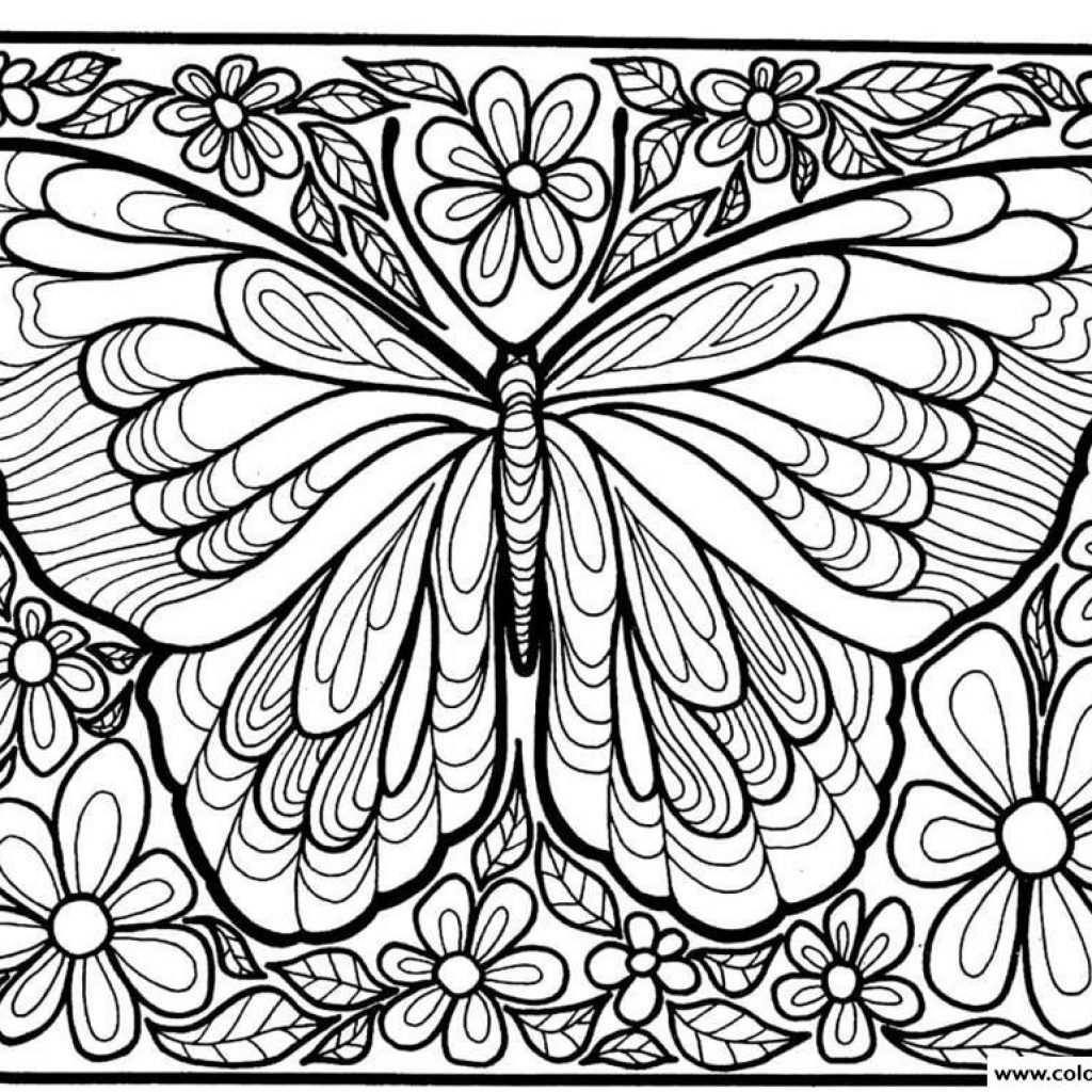 Free Christmas Coloring Pages For Adults Printable Hard To Color With Adult Difficult Big Butterfly