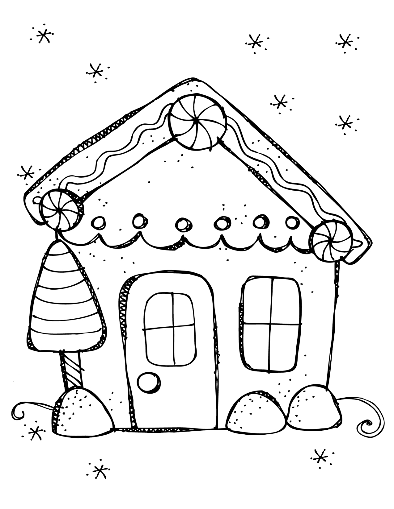Free Christmas Coloring Pages Gingerbread House With Books