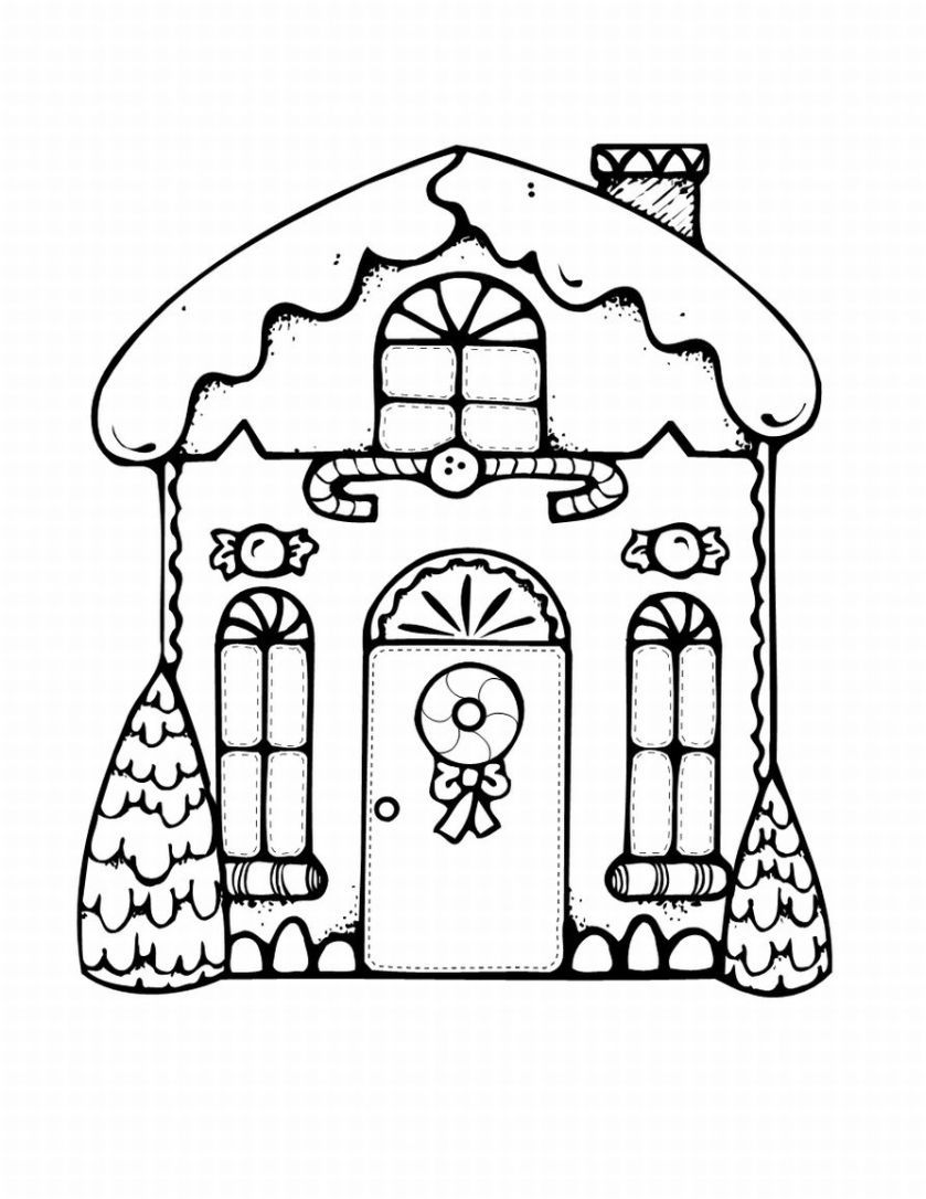 Free Christmas Coloring Pages Gingerbread House With Cute In Black And White To Colour