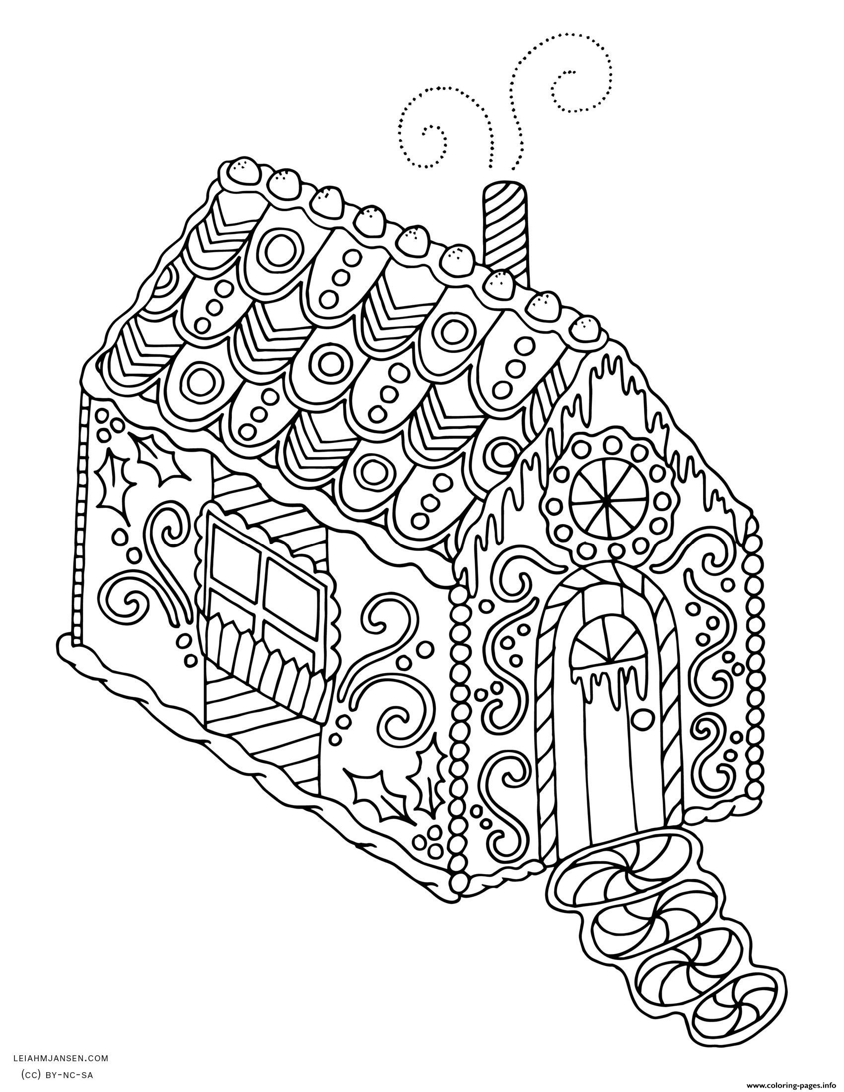 Free Christmas Coloring Pages Gingerbread House With Fresh Plimentary