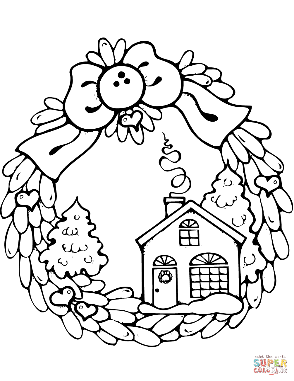 Free Christmas Coloring Pages Gingerbread House With Of Houses Wreath