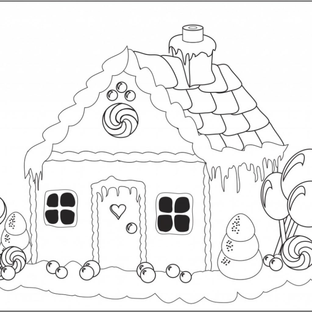 Free Christmas Coloring Pages Gingerbread House With Printable Snowflake For Kids