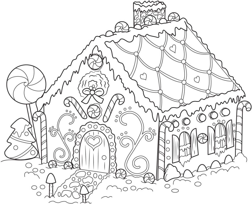 Free Christmas Coloring Pages Gingerbread House With Printable Snowflake For Kids Drawings