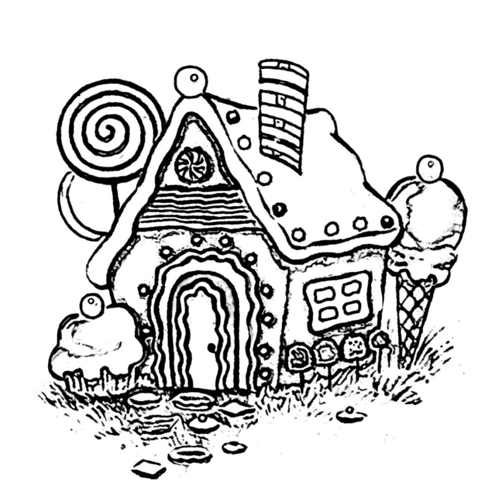 Free Christmas Coloring Pages Gingerbread House With Sweet Coloringsuitecom