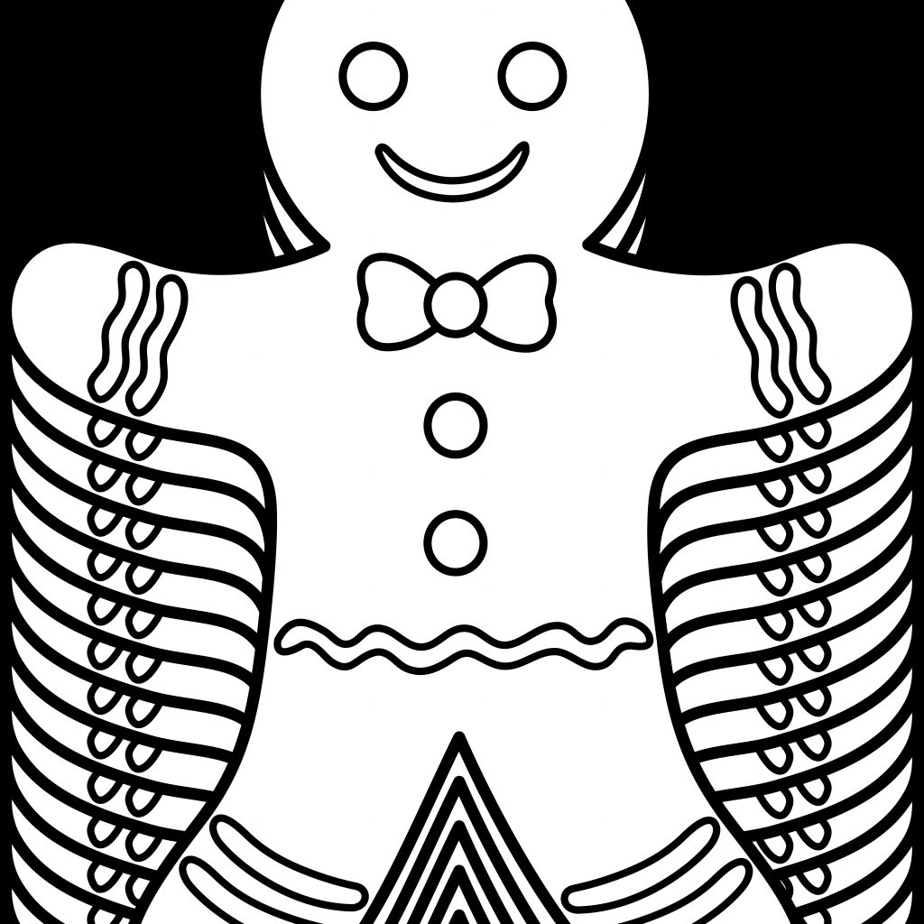 Free Christmas Coloring Pages Gingerbread Man With Books
