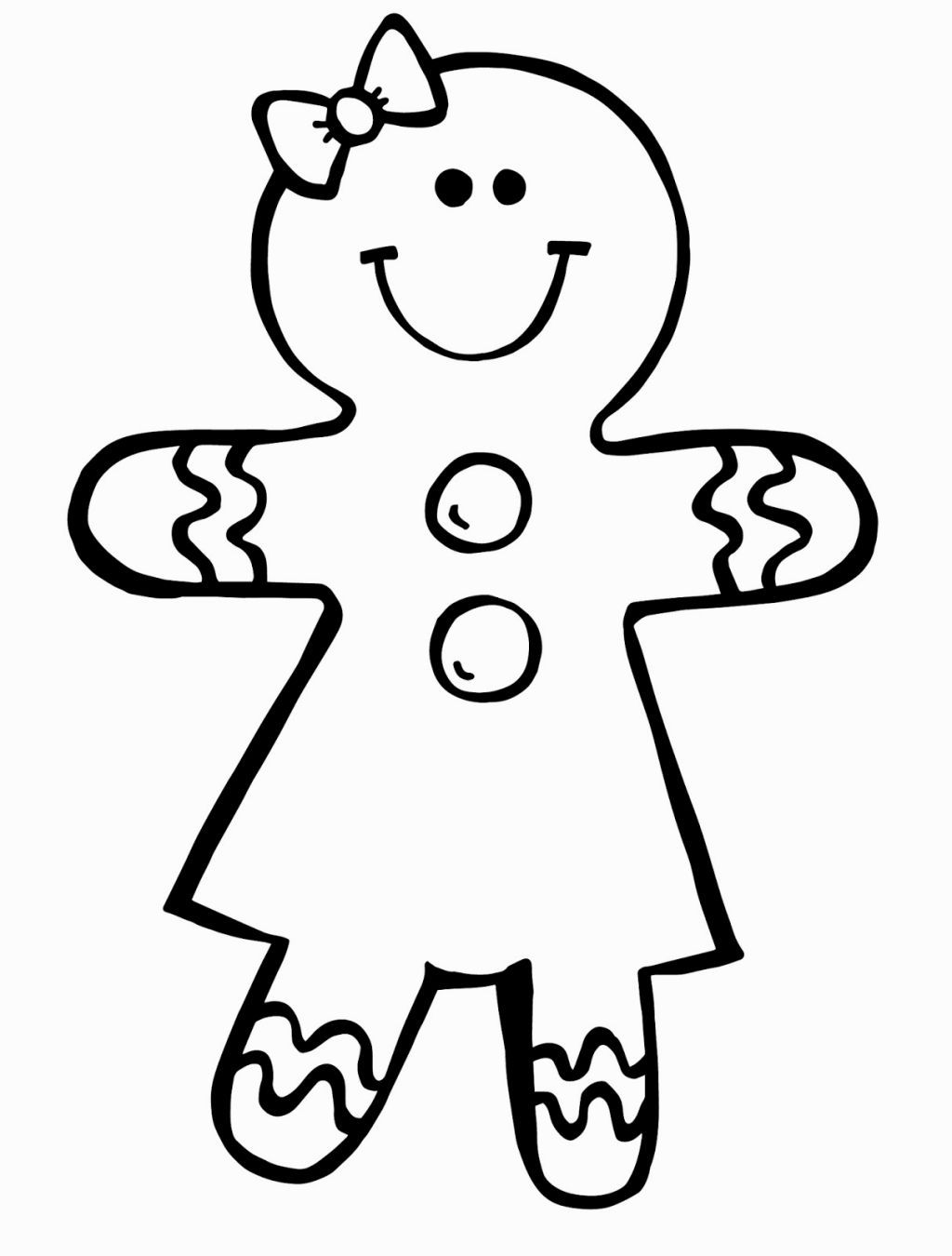 Free Christmas Coloring Pages Gingerbread Man With Girl Pinterest