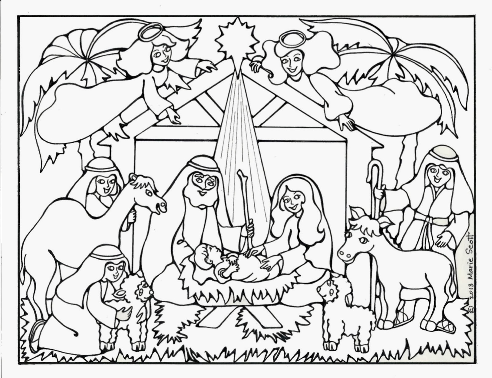 Free Christmas Coloring Pages Nativity Scene With Books