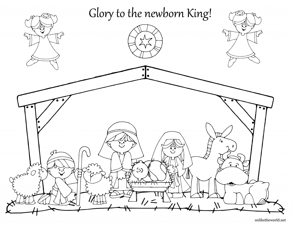 Free Christmas Coloring Pages Nativity Scene With Color Page