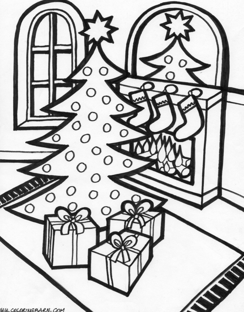 Free Christmas Coloring Pages Nativity Scene With Library