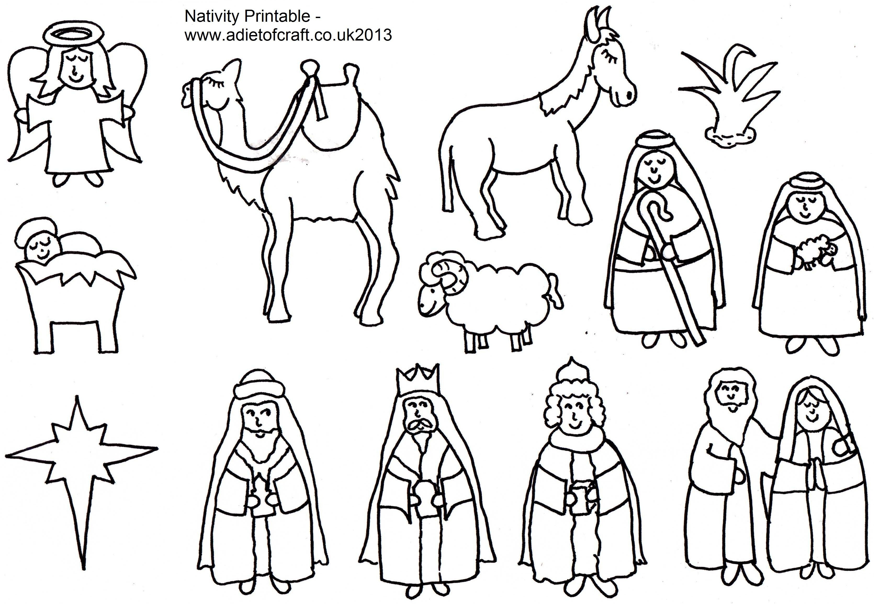 Free Christmas Coloring Pages Nativity Scene With Page Picture