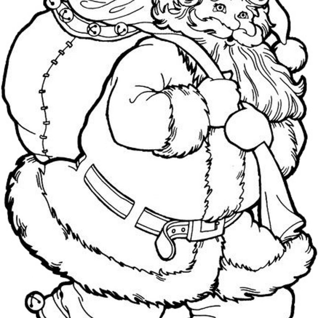Free Christmas Coloring Pages Santa Claus With Tree And Printable To Print