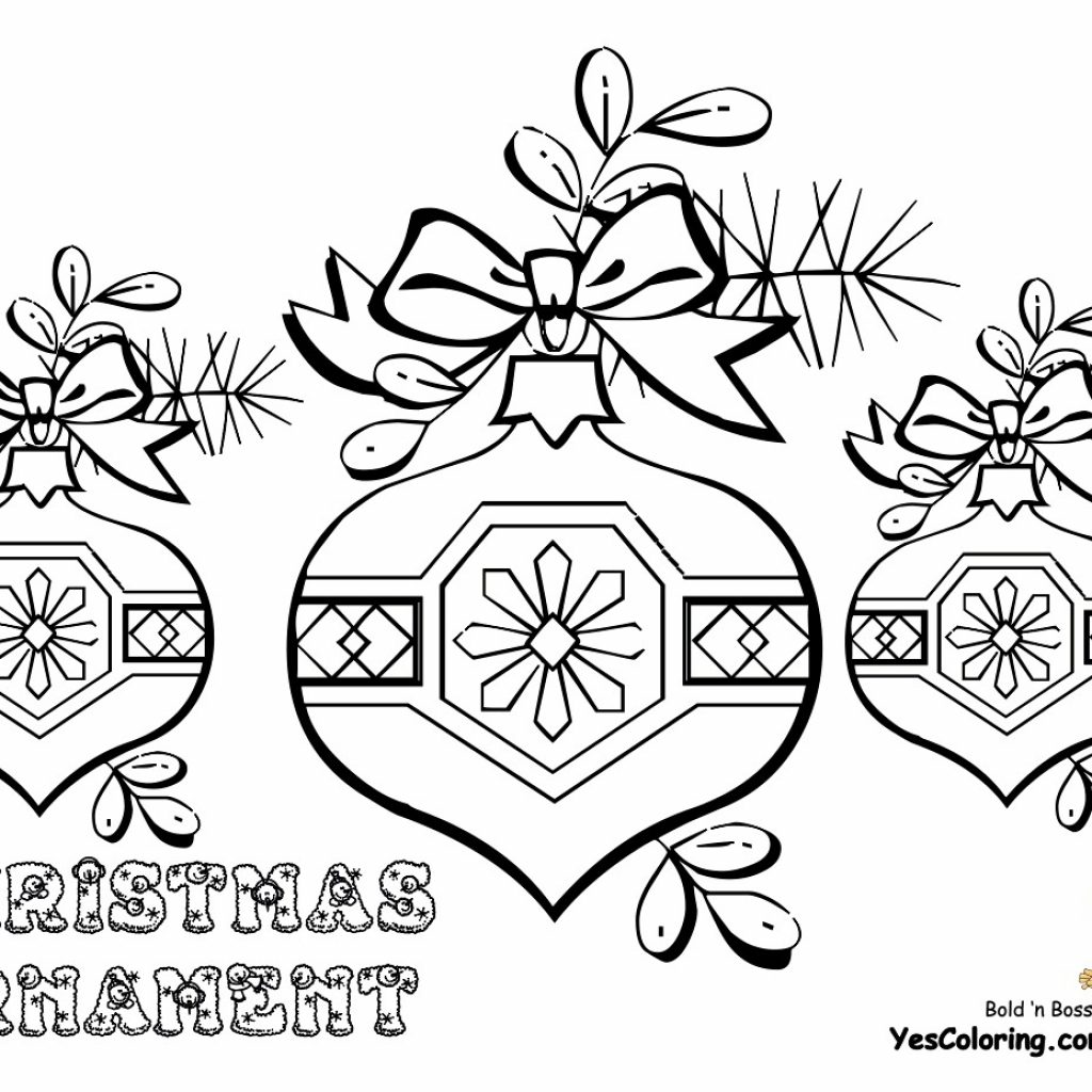 Free Christmas Coloring Pages With Ornaments Medium Decorations To Colour