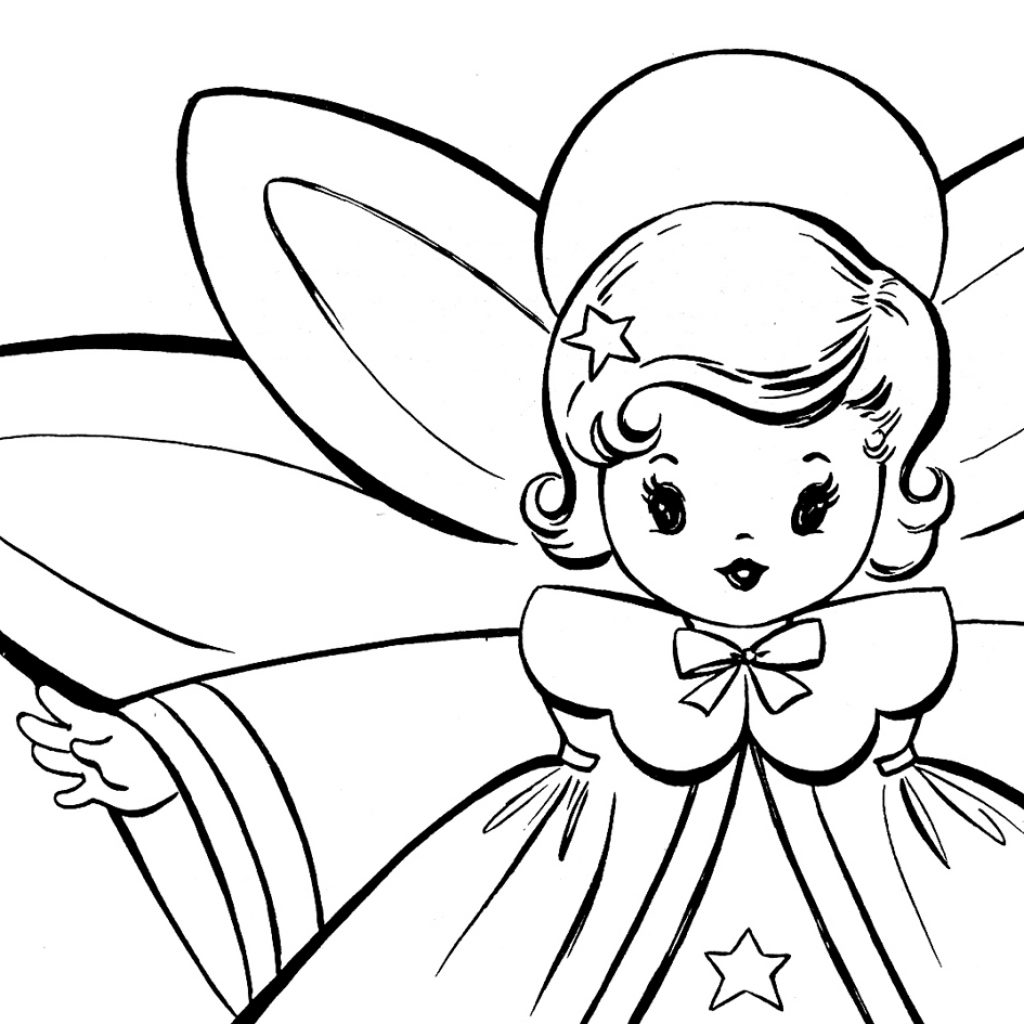 Free Christmas Coloring Pages With Retro Angels The Graphics Fairy