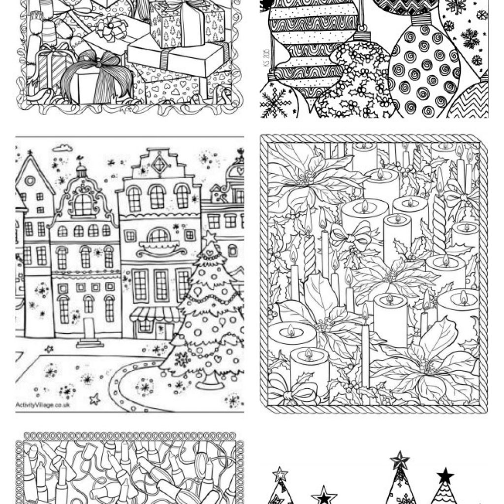 Free Christmas Village Coloring Pages With Adult U Create