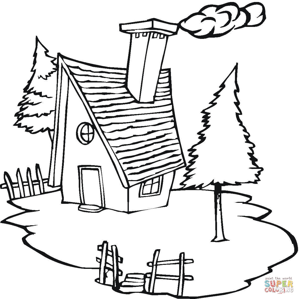 Free Christmas Village Coloring Pages With Cottage In The Page Printable