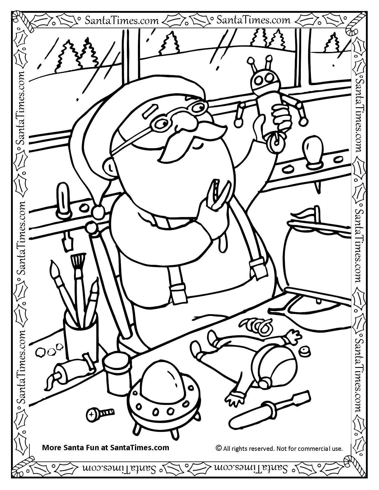 Free Christmas Village Coloring Pages With Santa Claus On His Sleigh