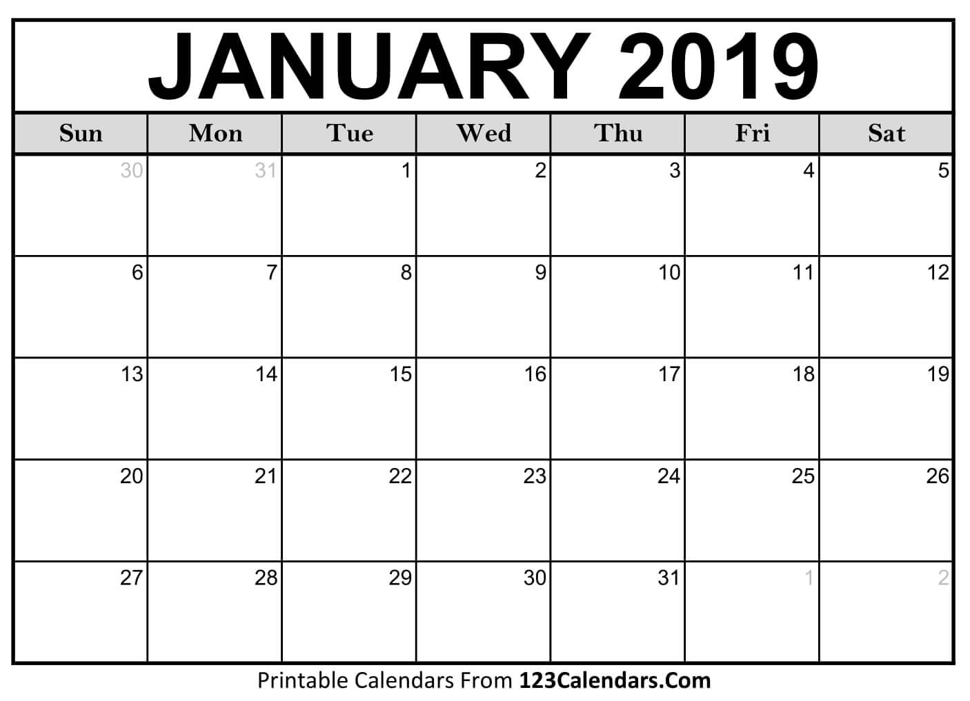 Free Coloring Calendar 2019 With January Pages