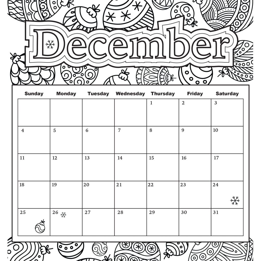 Free Coloring Calendar 2019 With Printable Adult October Sheets