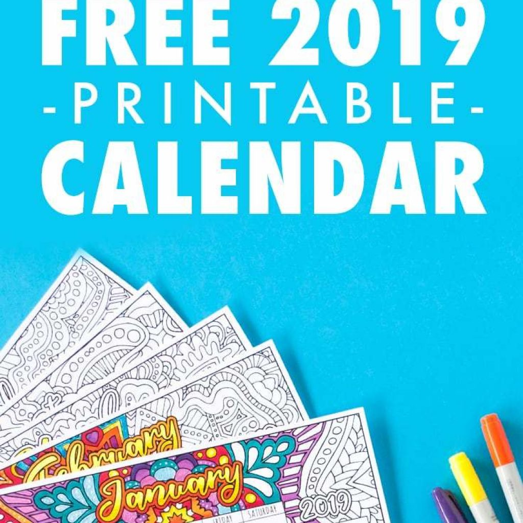Free Coloring Calendar 2019 With Printable By Sarah Renae Clark