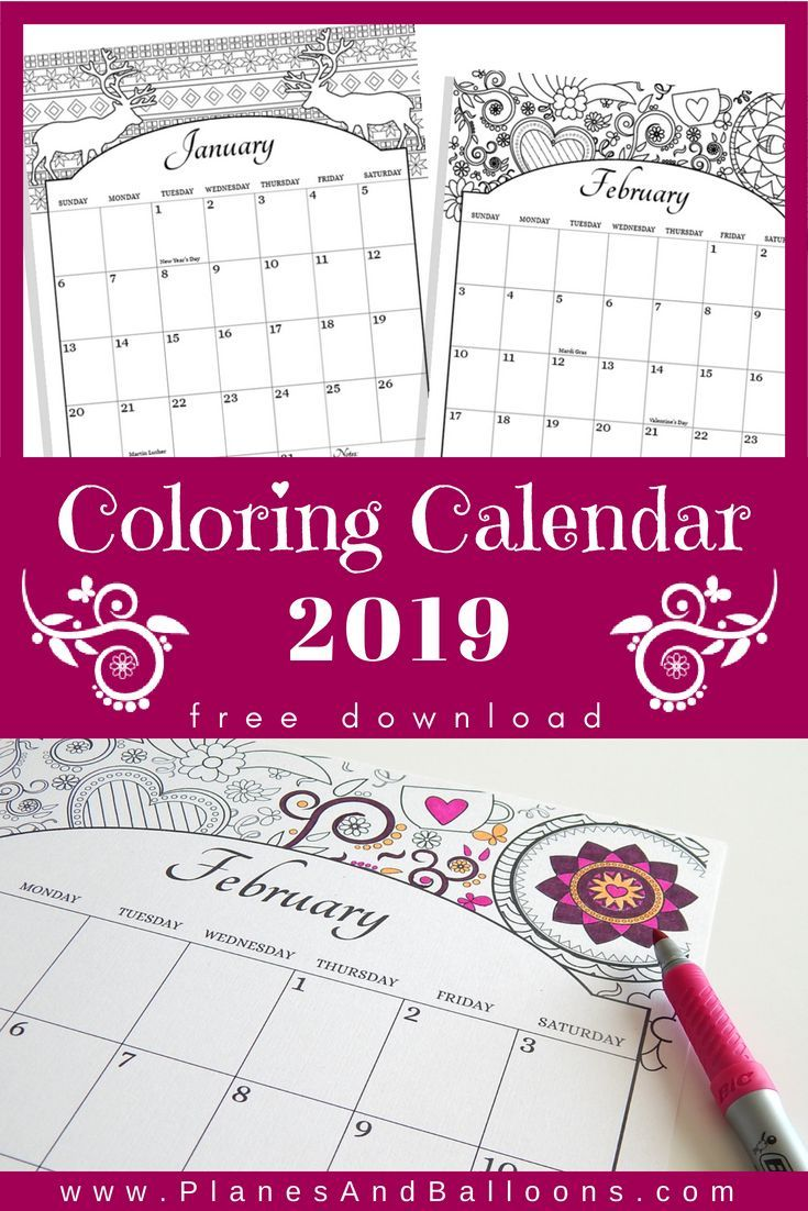 Free Coloring Calendar 2019 With US Holidays Included Download Best