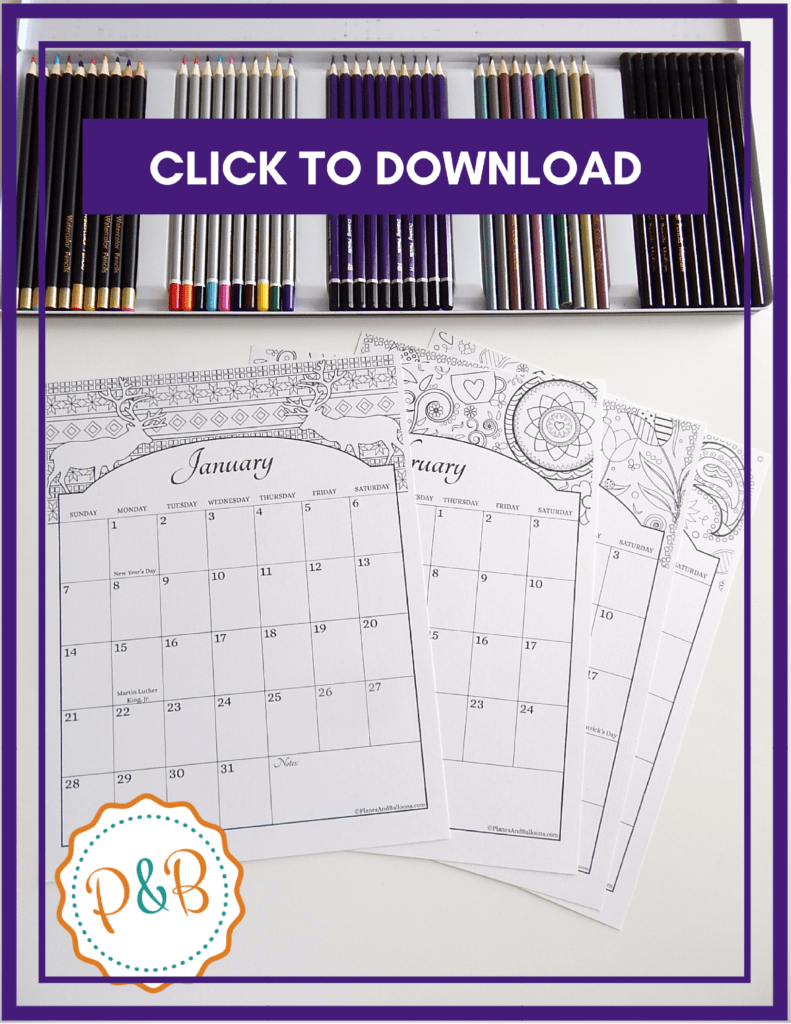 Free Coloring Calendar 2019 With US Holidays Included Download