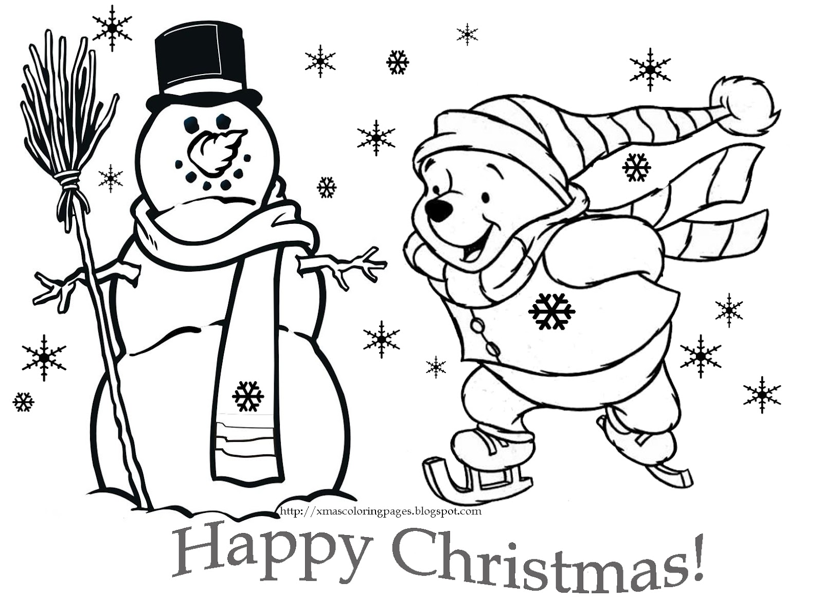Free Disney Christmas Coloring Pages Printable With DISNEY COLORING PAGES