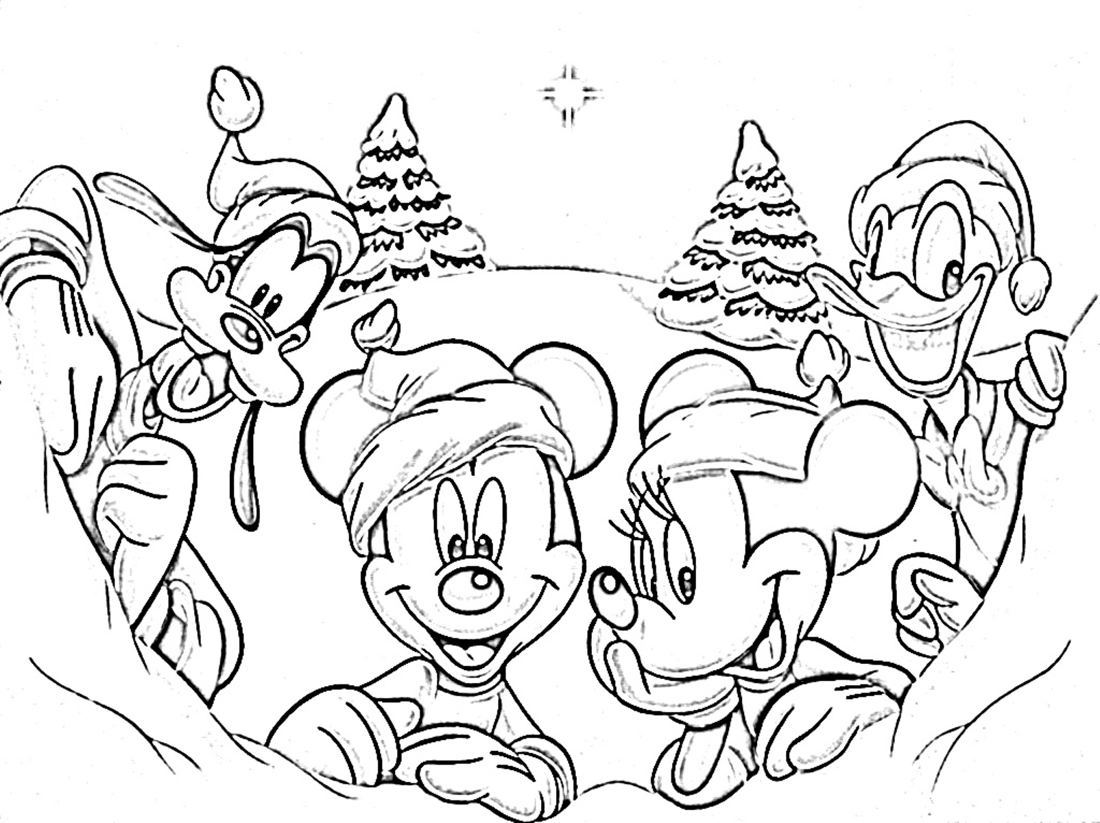 Free Disney Christmas Coloring Pages To Print With Download Sea4Waterman