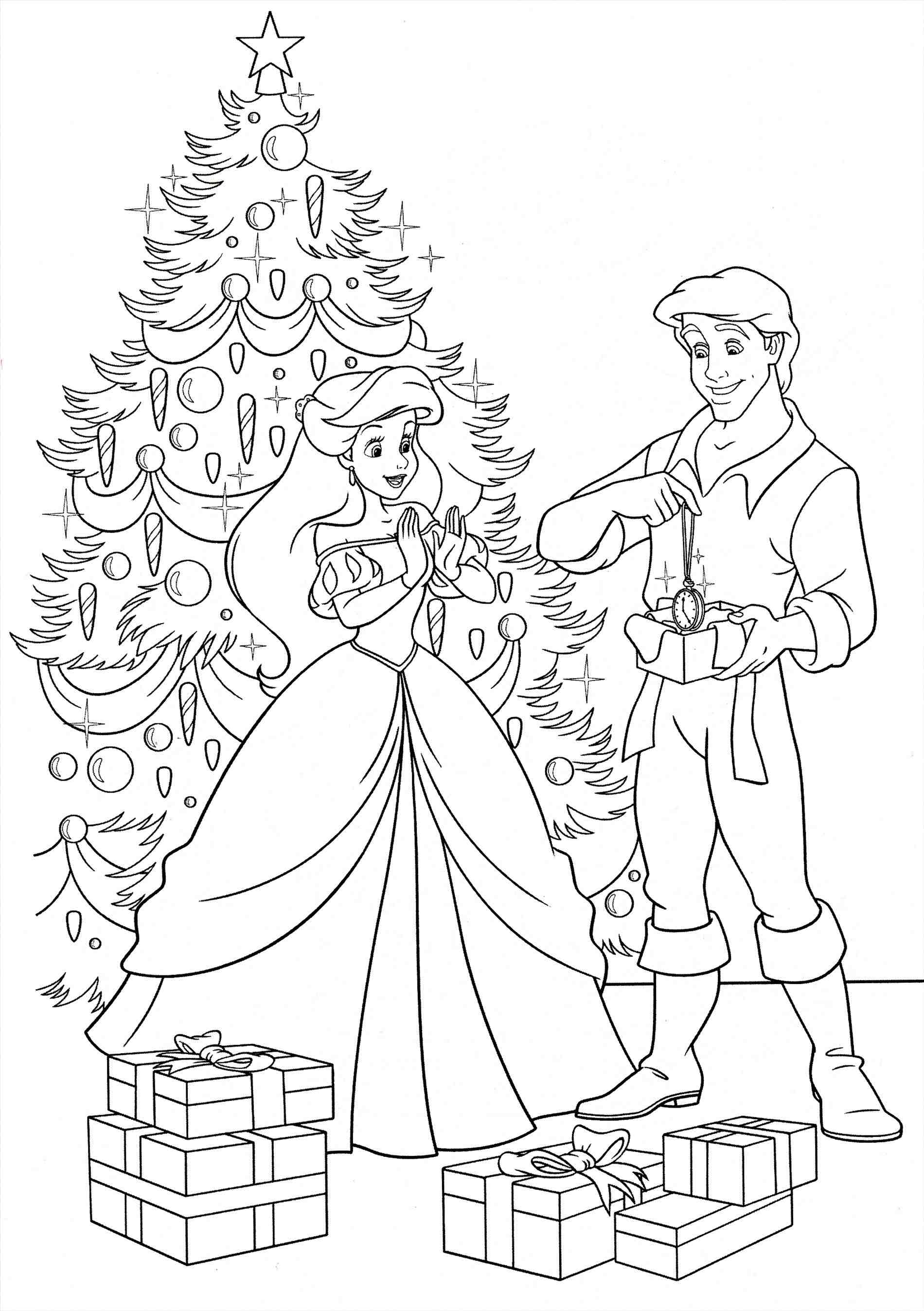 Free Disney Christmas Coloring Pages With New Princess Collection Printable