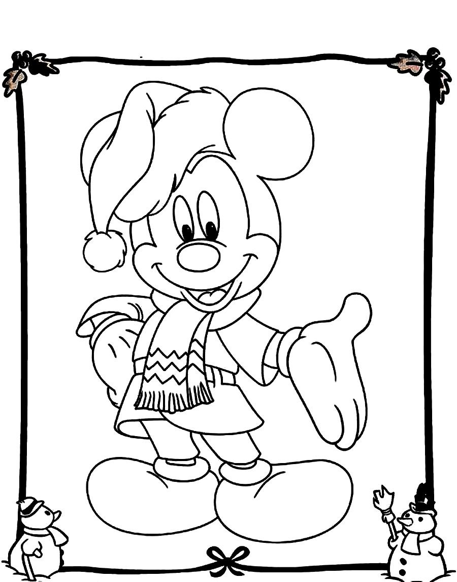 Free Disney Christmas Coloring Sheets With Mickey Mouse Pages