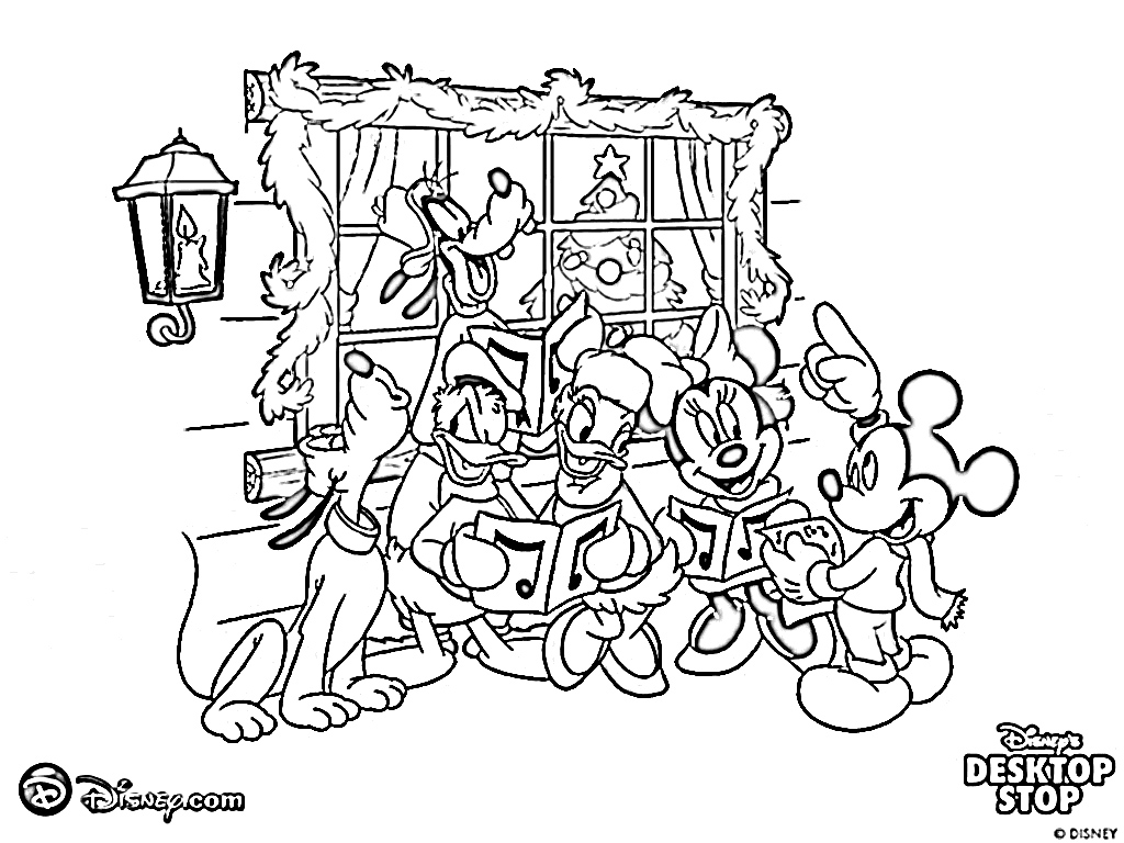 Free Disney Christmas Colouring Pages With Coloring Cartoon