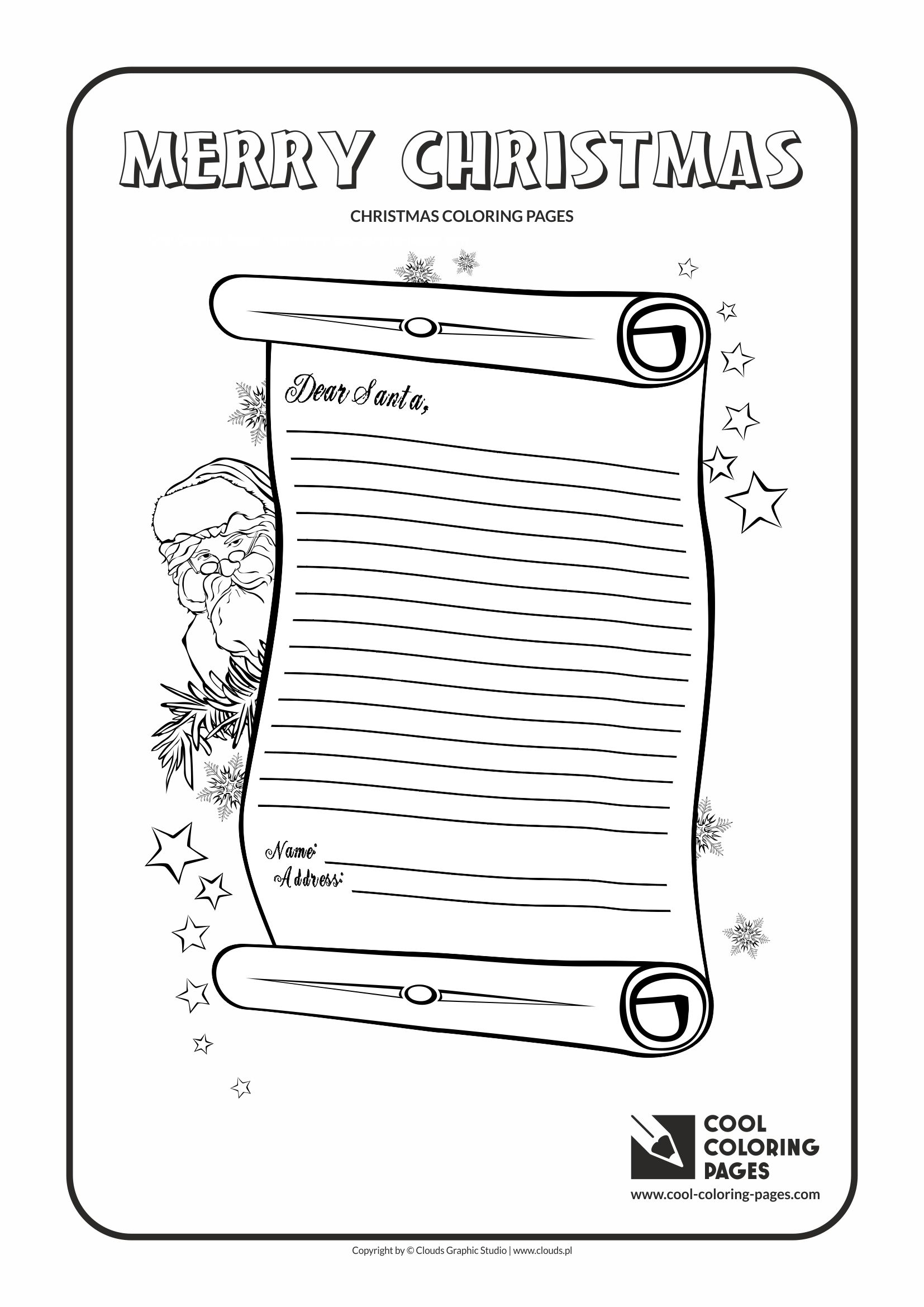 Free Letter To Santa Coloring Page With Cool Pages Claus No 2