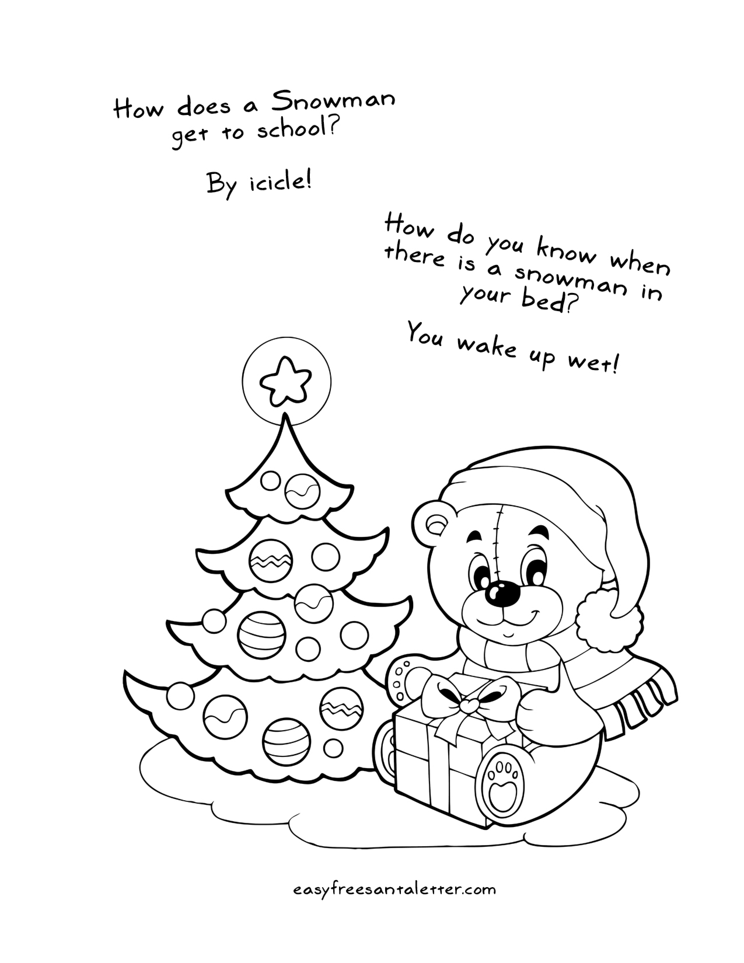 Free Letter To Santa Coloring Page With Printable Christmas Pages Jokes And