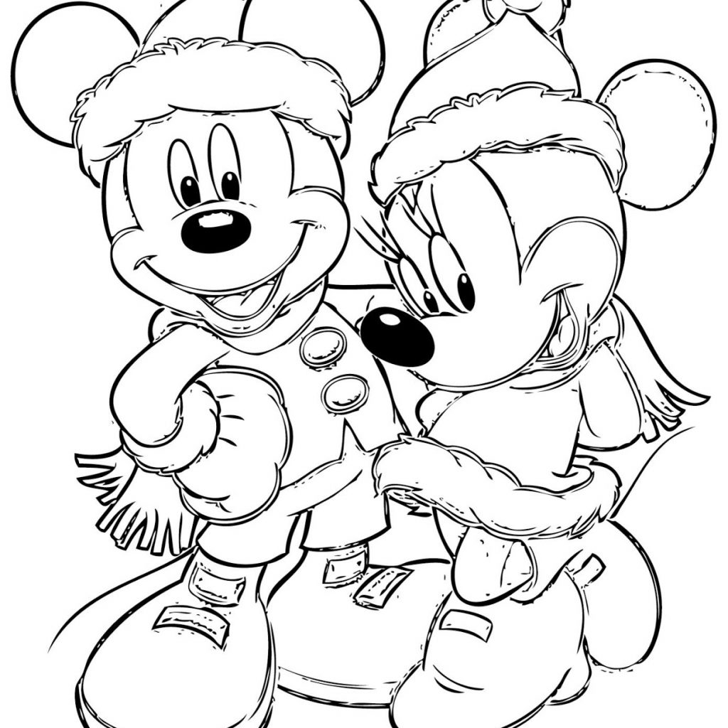 Free Mickey Christmas Coloring Pages With Disney Download Books Throughout