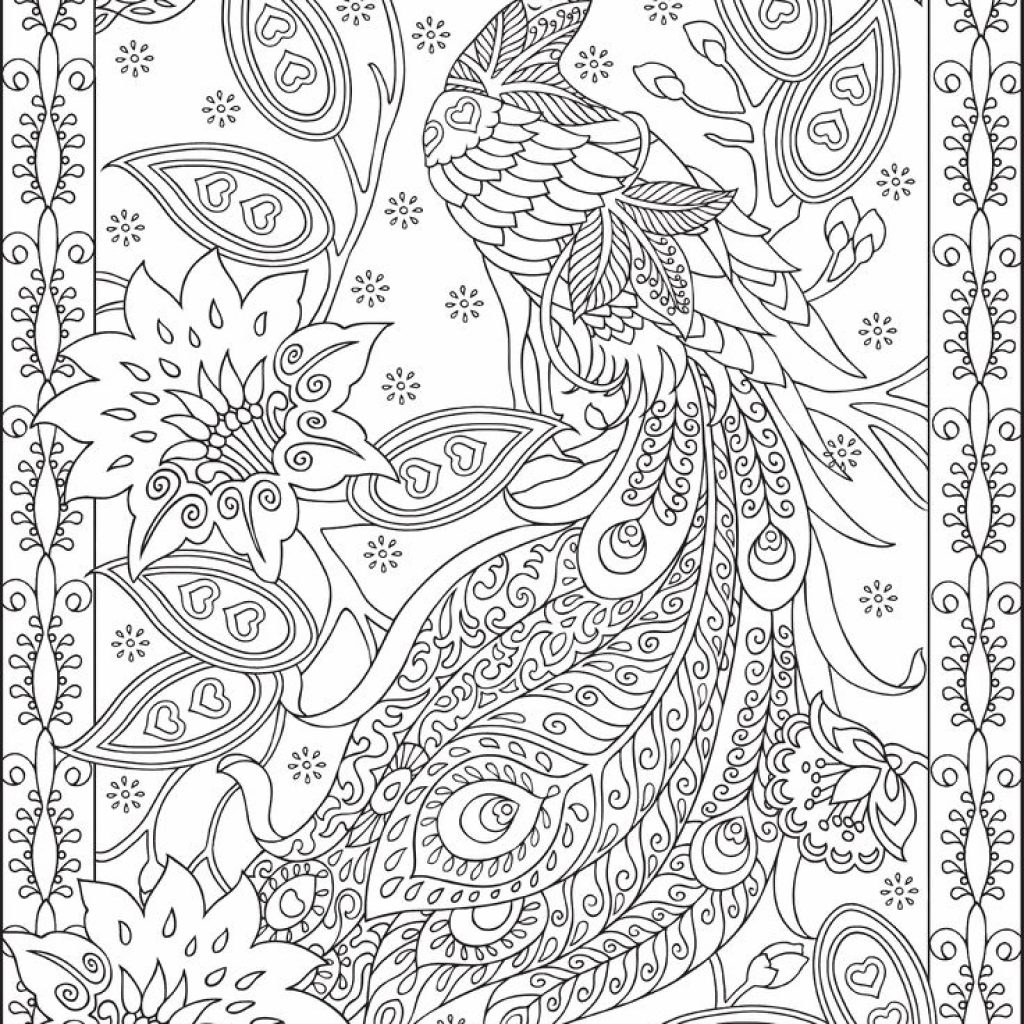 Free Online Christmas Coloring Pages For Adults With Peacock Feather Colouring Adult Detailed Advanced