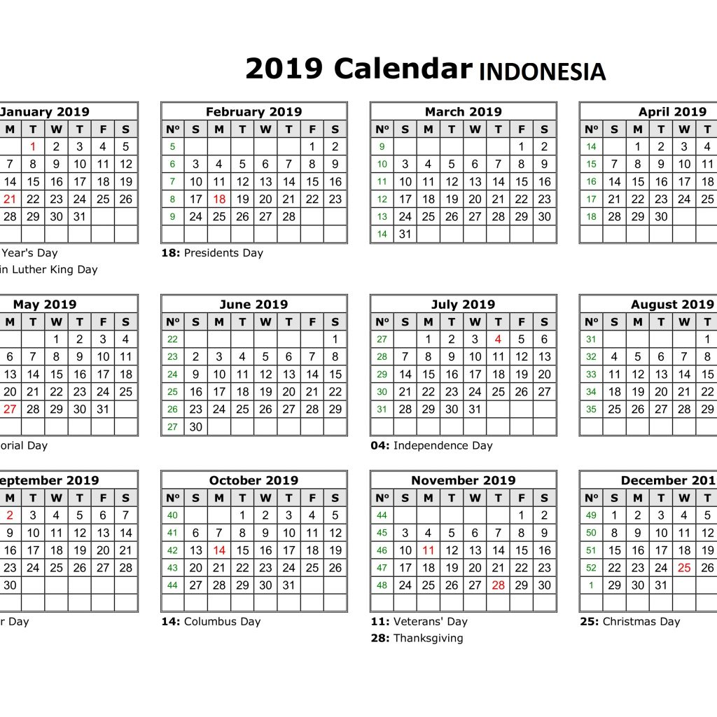 Free Printable 2019 Year Calendar With Holidays Get Yearly Indonesia