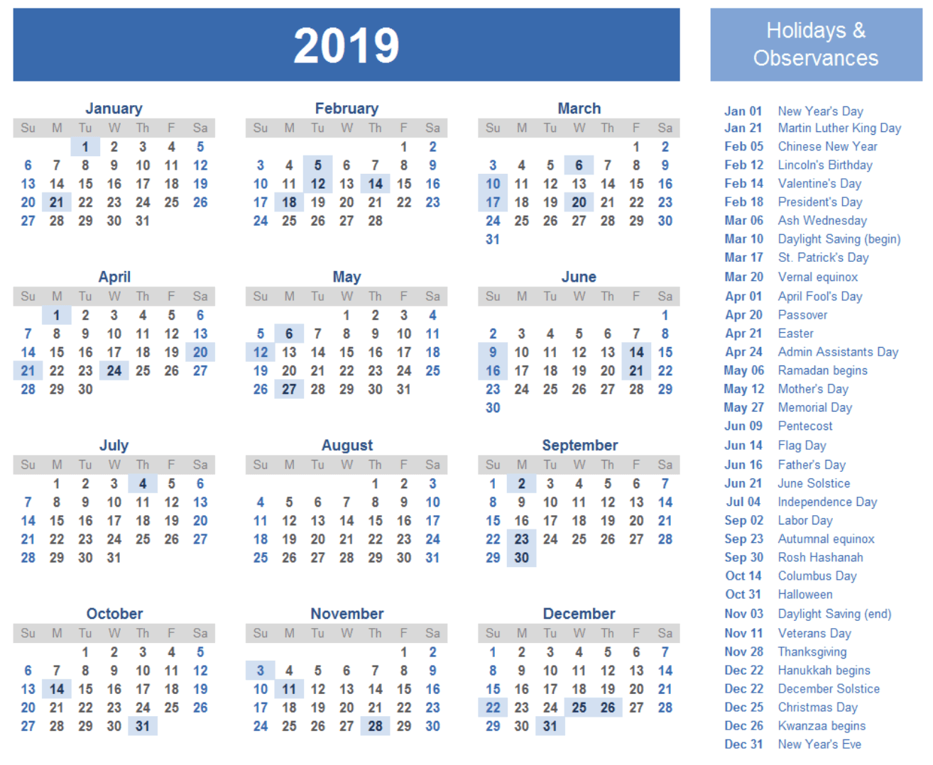 Free Printable 2019 Year Calendar With Holidays Templates Online