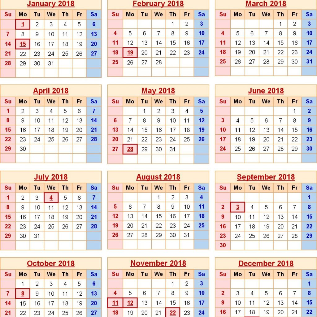 Free Printable 2019 Year Calendar With Holidays Templates Yearly USA
