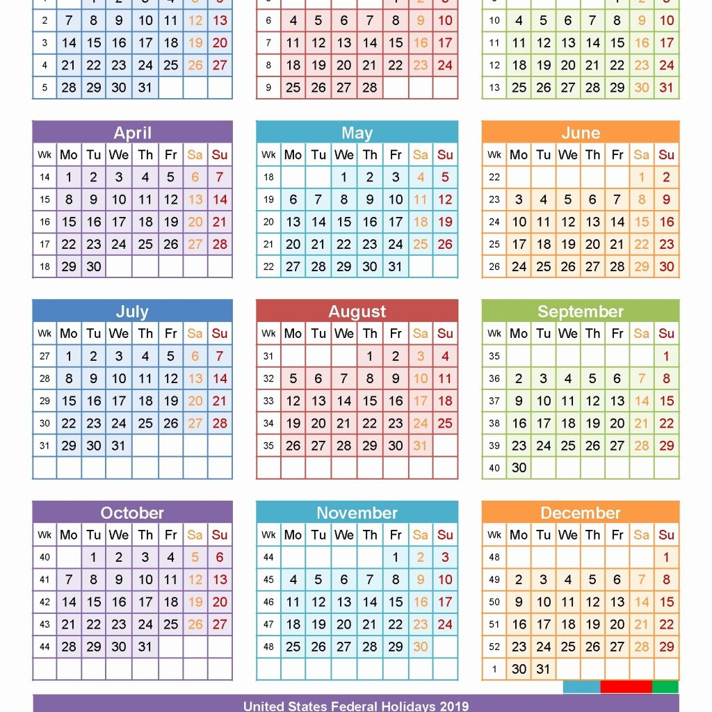 Free Printable 2019 Year Calendar With Holidays Yearly Template Canada