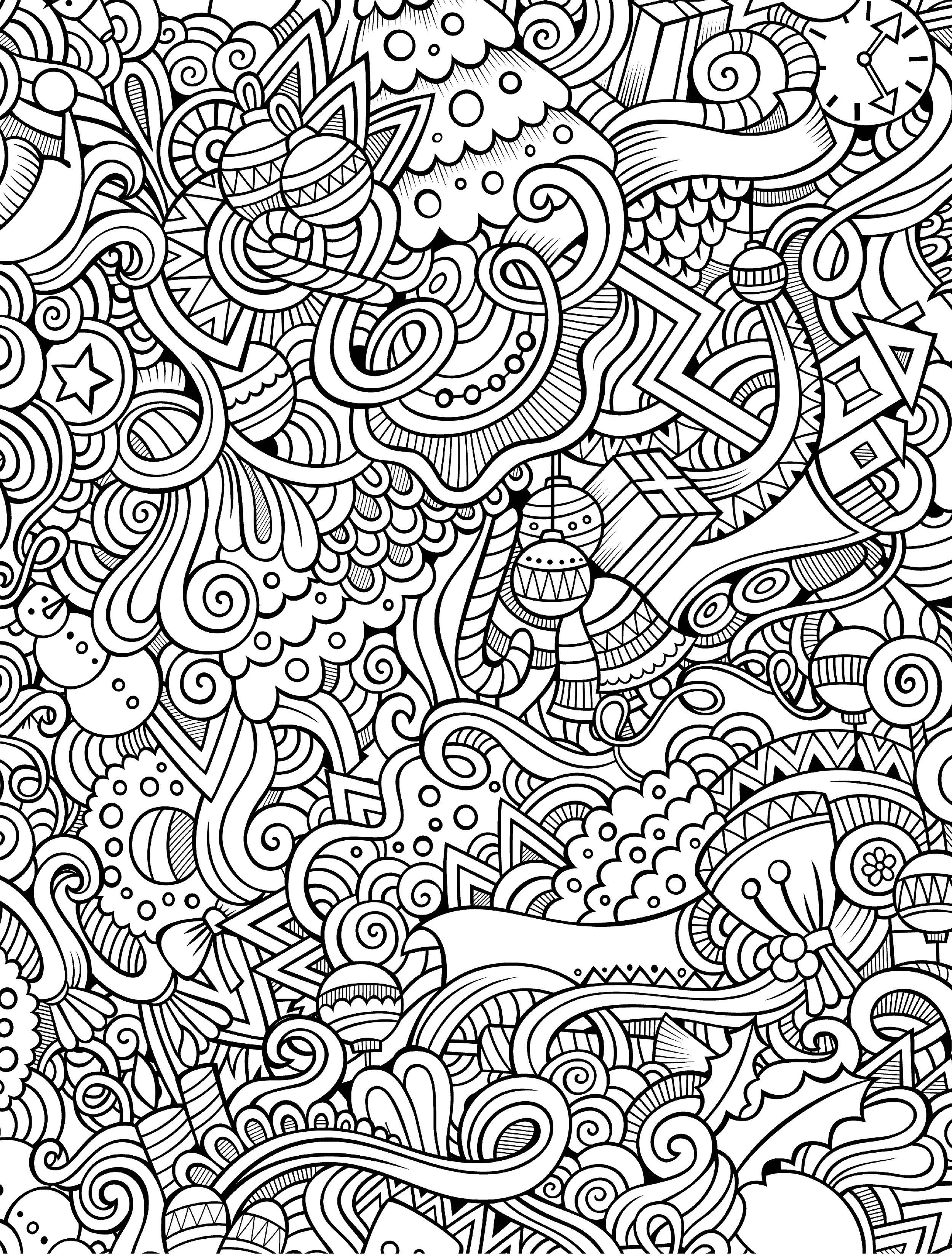 Free Printable Abstract Christmas Coloring Pages With 10 Holiday Adult