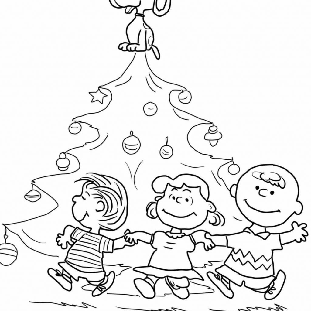 Free Printable Charlie Brown Christmas Coloring Pages With Tree Snoopy