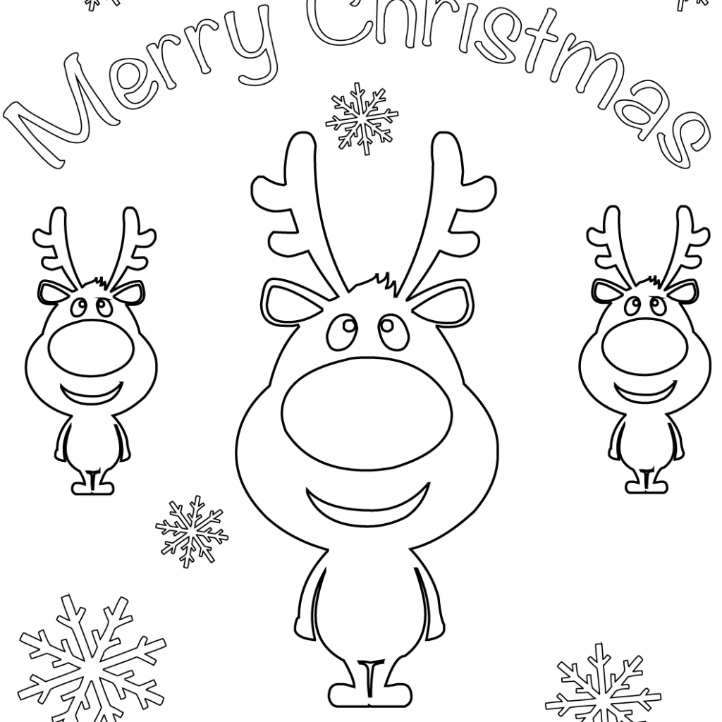 Free Printable Christmas Card Coloring Pages With Merry Cartoon Reindeers Page