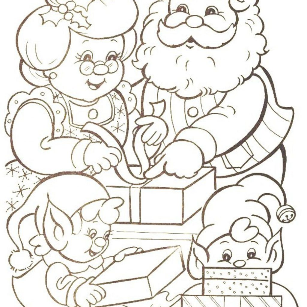 Free Printable Christmas Elves Coloring Pages With Santa Claus And 2665925