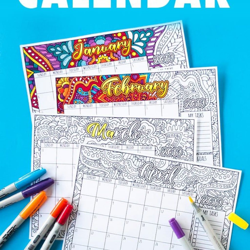 Free Printable Coloring Calendar 2019 With By Sarah Renae Clark