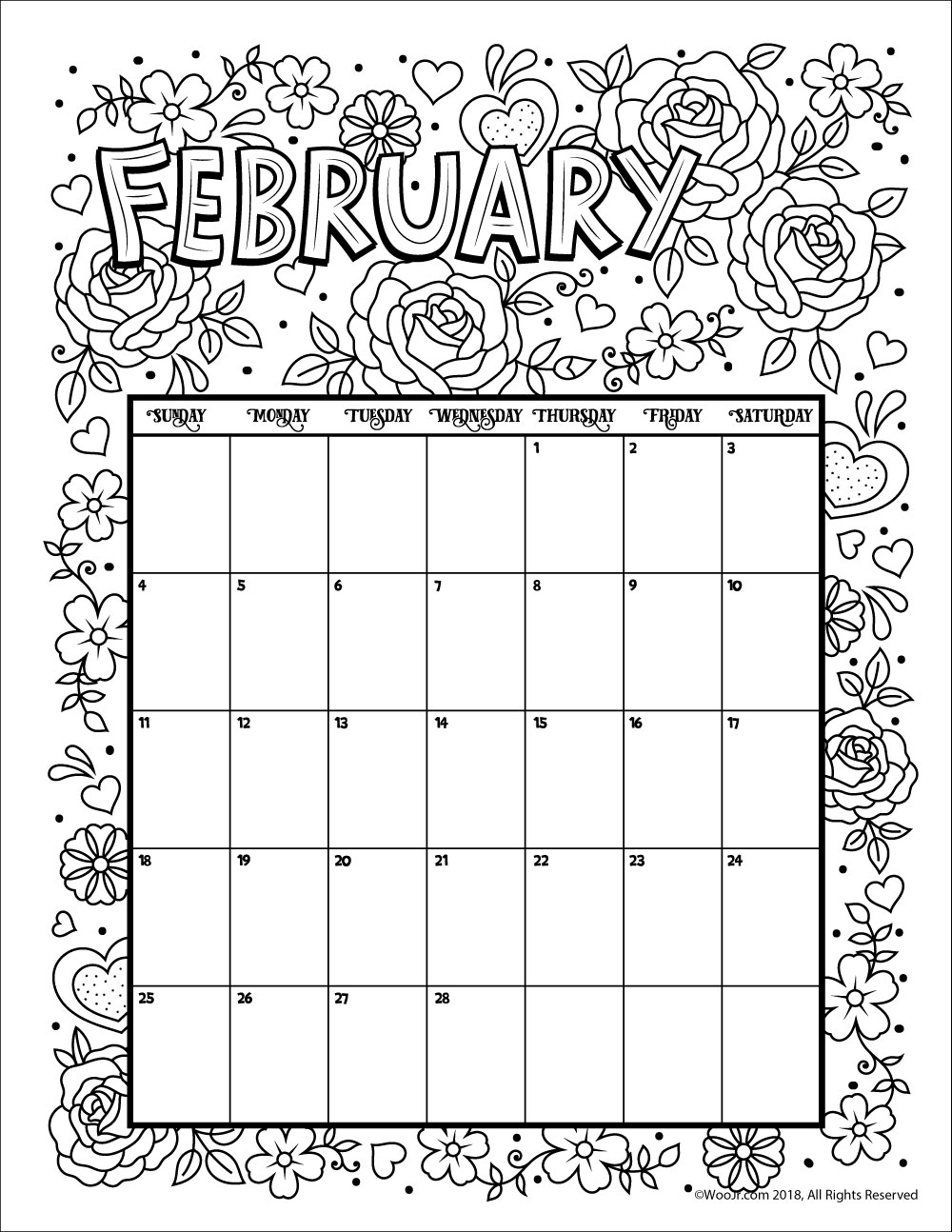 Free Printable Coloring Calendar 2019 With For And 2018 Woo Jr Kids