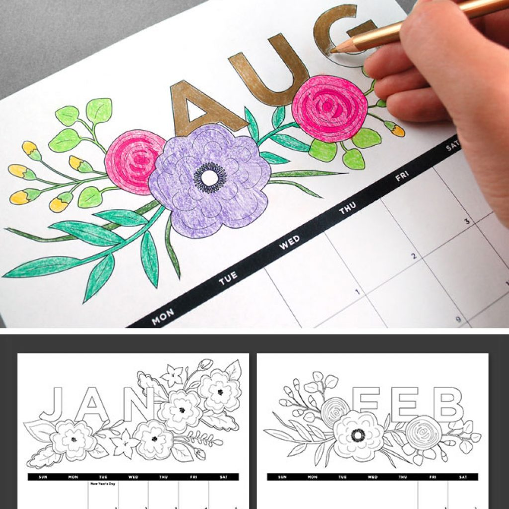 Free Printable Coloring Calendar 2019 With Printables Calendars Blog Botanical PaperWorks