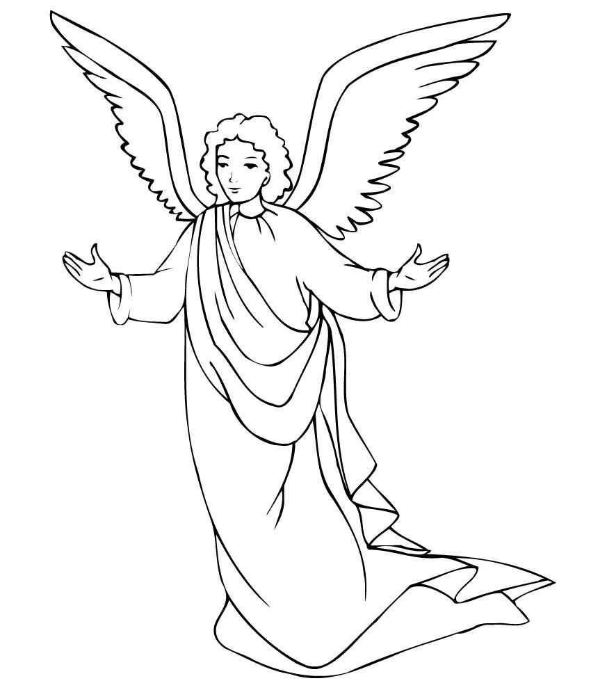 Free Printable Coloring Pages Christmas Angels With Angel Page Crafts Pinterest