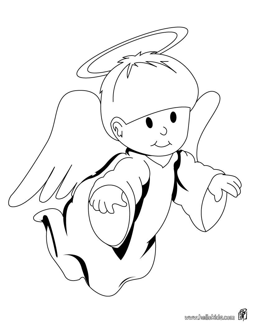 Free Printable Coloring Pages Christmas Angels With Image Detail For Cute Angel Page CHRISTMAS ANGEL