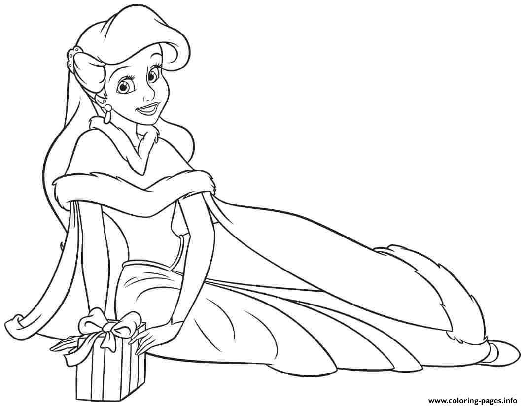 Free Printable Disney Princess Christmas Coloring Pages With Print Ariel Human