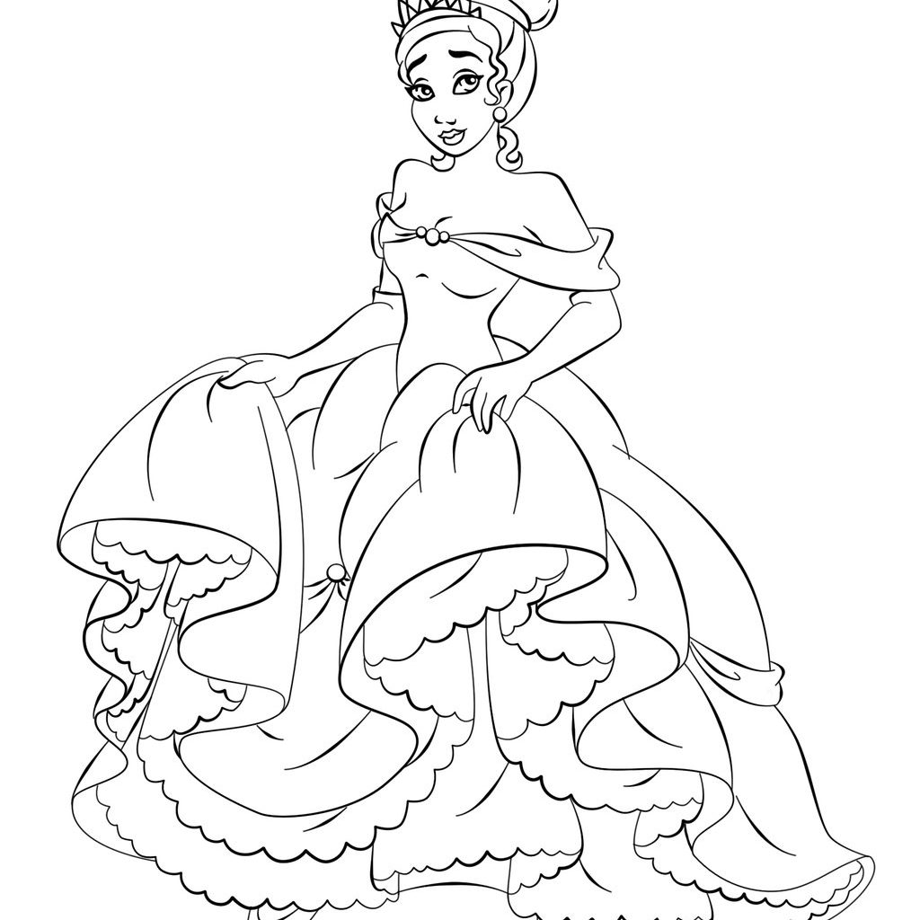 Free Printable Disney Princess Christmas Coloring Pages With Tiana For Kids