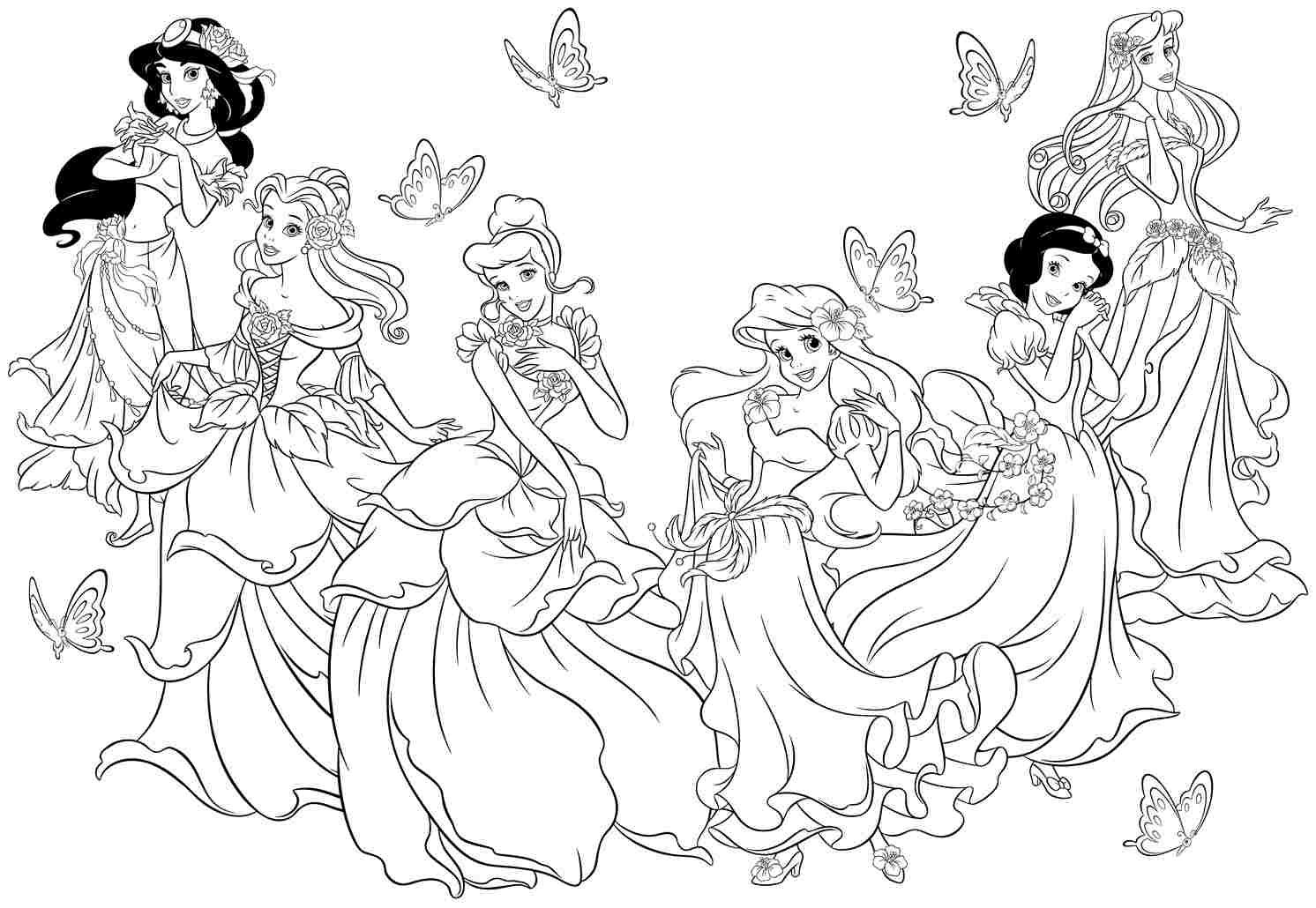 Free Printable Disney Princess Christmas Coloring Pages With To Color
